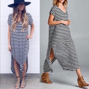 BAILEY Boho Striped Dress- BLACK